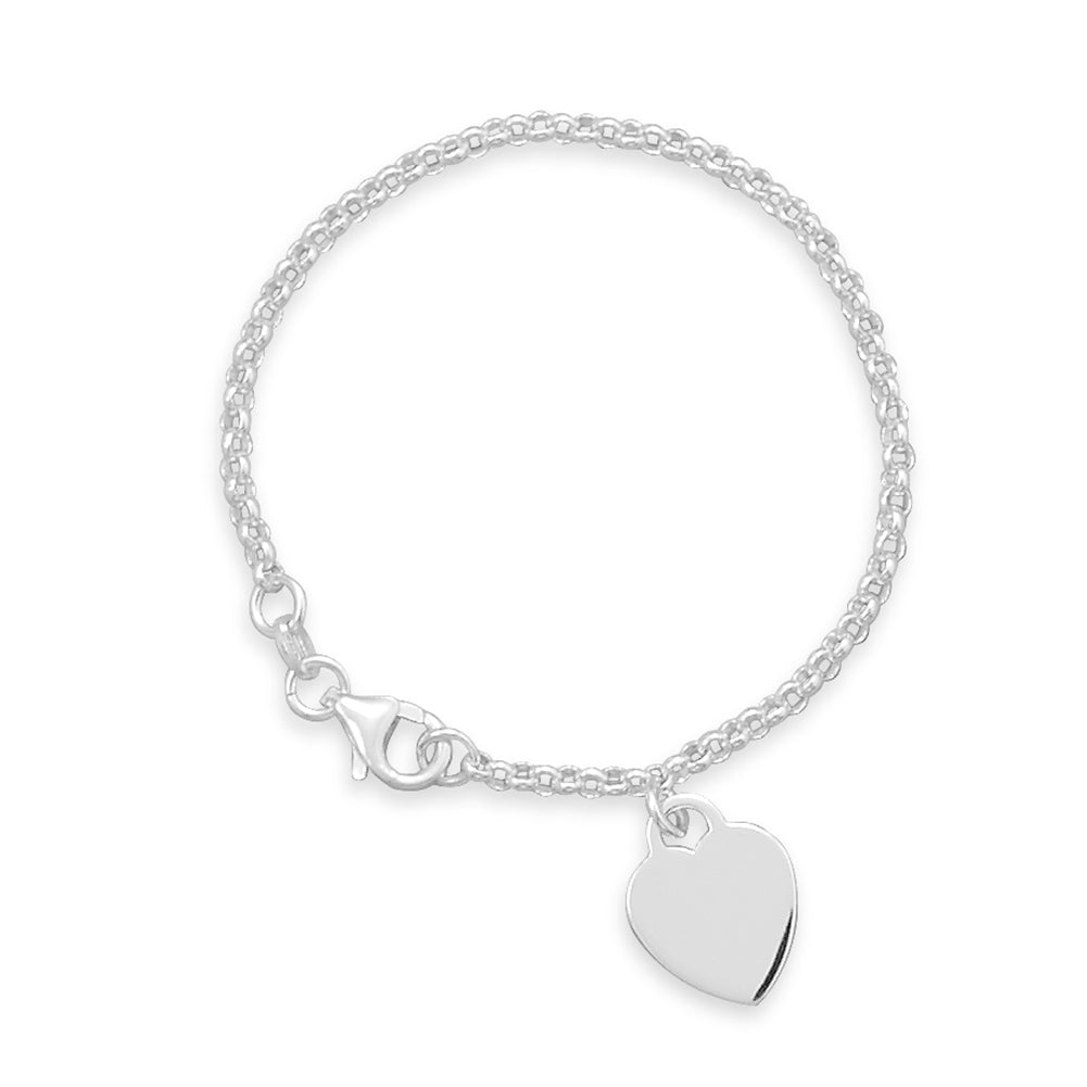 Small Heart Tag Rolo Chain Sterling Silver Bracelet