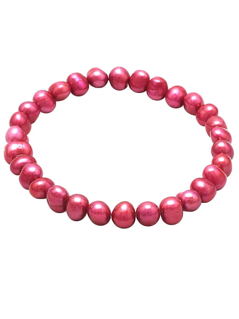 Light Red Dyed Cultured Freshwater Pearl Stretch Bracelet
