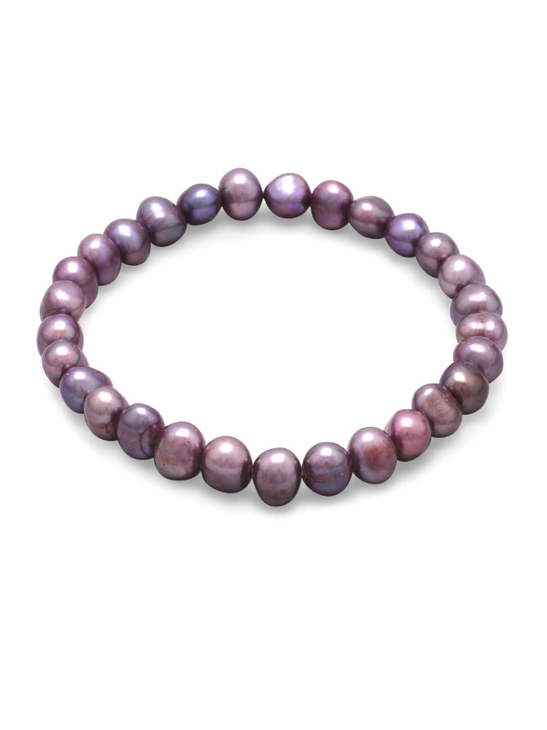 Plum Dyed Cultured Freshwater Pearl Stretch Bracelet