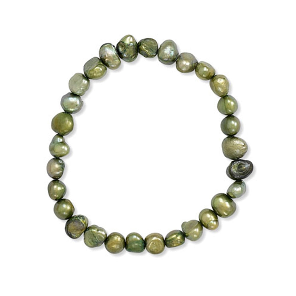Green Dyed Freshwater Cultured Freshwater Pearl Stretch Bracelet
