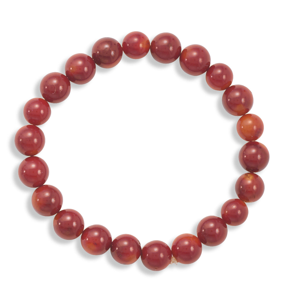AzureBella Jewelry Red Bead 8mm Wide Bead Stretch Bracelet
