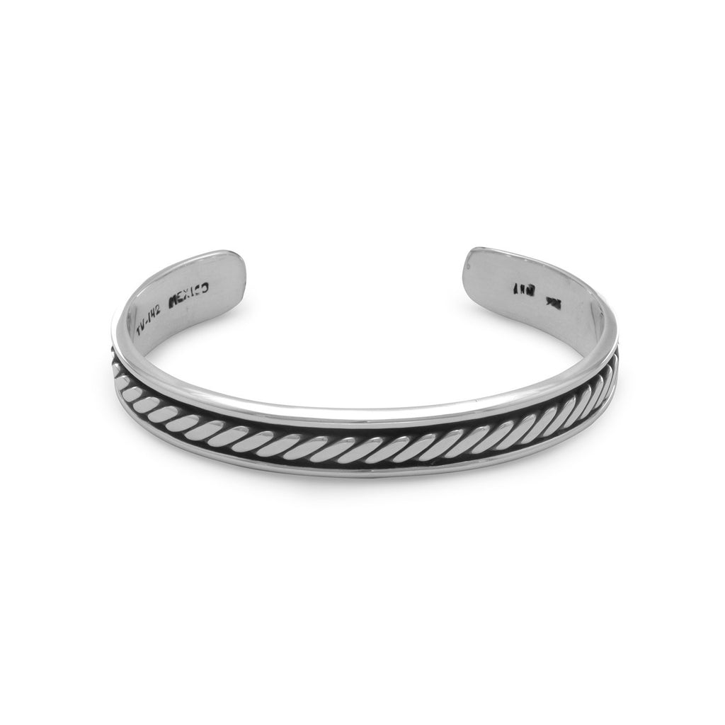 Men's Sterling Silver Cuff Bracelet with Oxidized Antiqued Rope Design