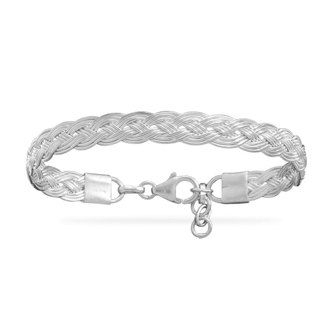 .925 Sterling Silver Braided Bracelet for Small Wrists 6.5 - 7.5 inches