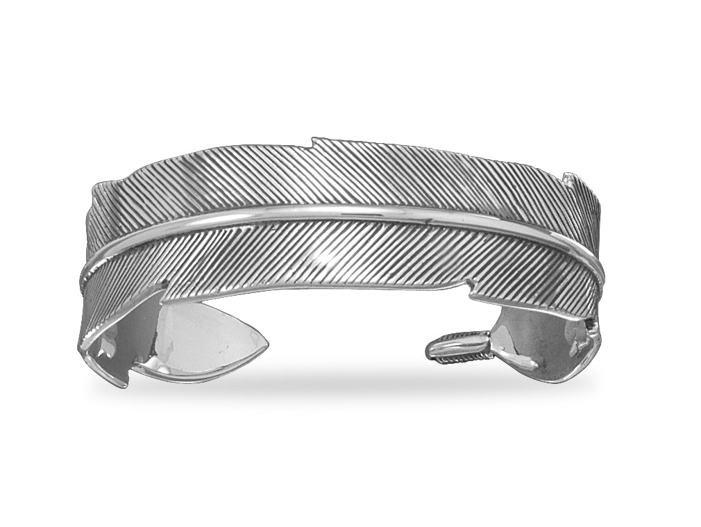 Cuff Bracelet Feather Design Antiqued Sterling Silver 17mm width