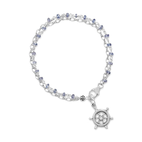 Tanzanite Bead Double Chain Bracelet with Ships Wheel Helm Charm