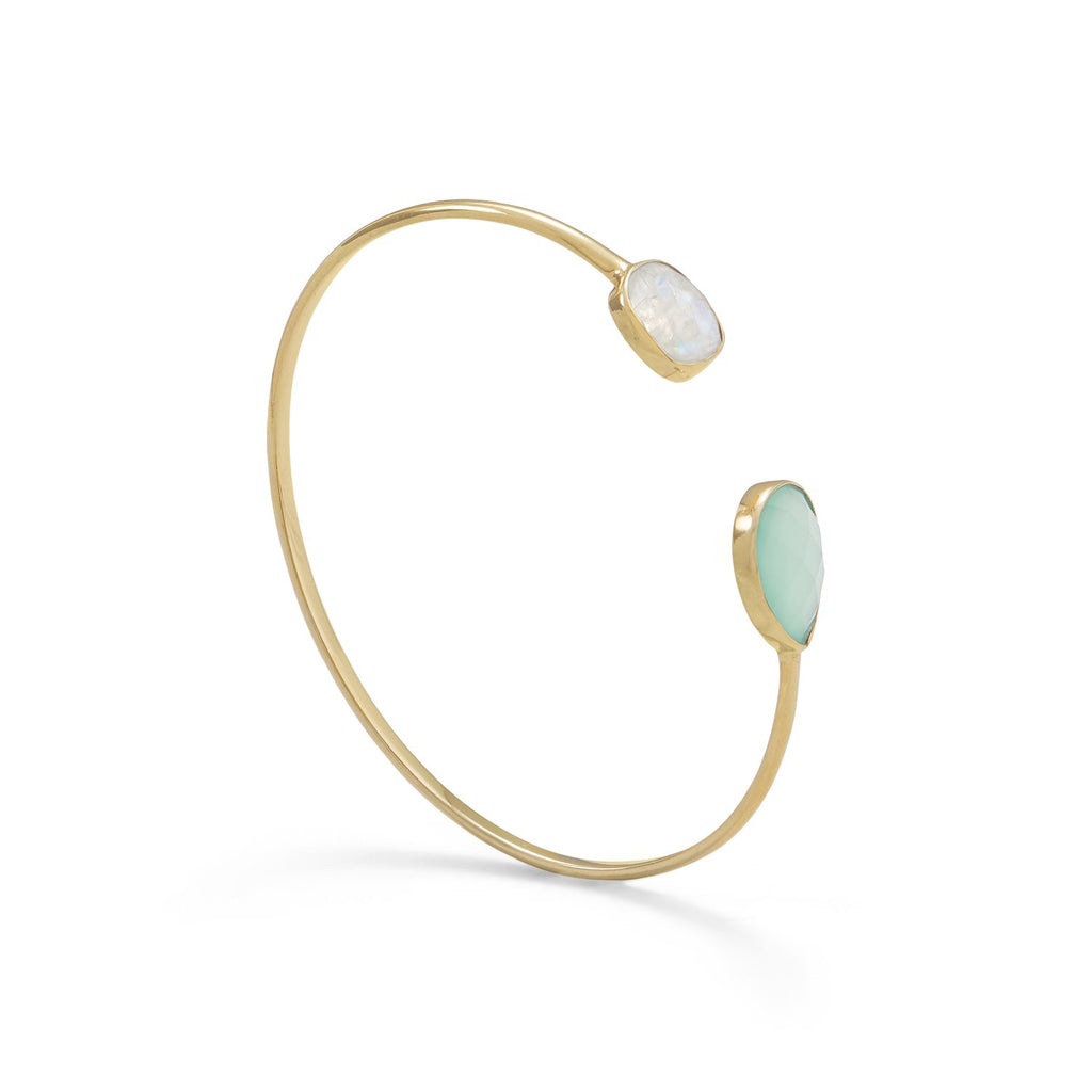 Gold-plated Rainbow Moonstone and Green Chalcedony Open Split Cuff Bracelet
