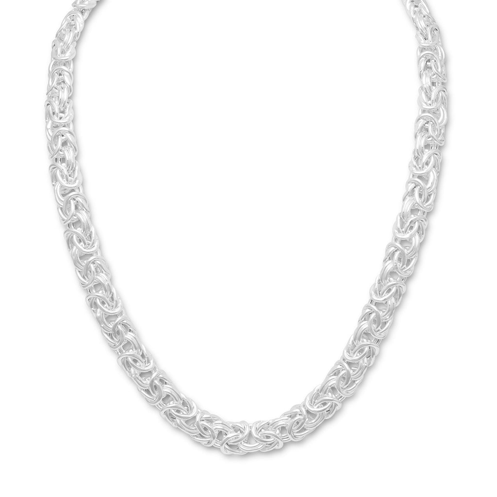 Byzantine Chain Necklace 12mm Sterling Silver 18-inch Length