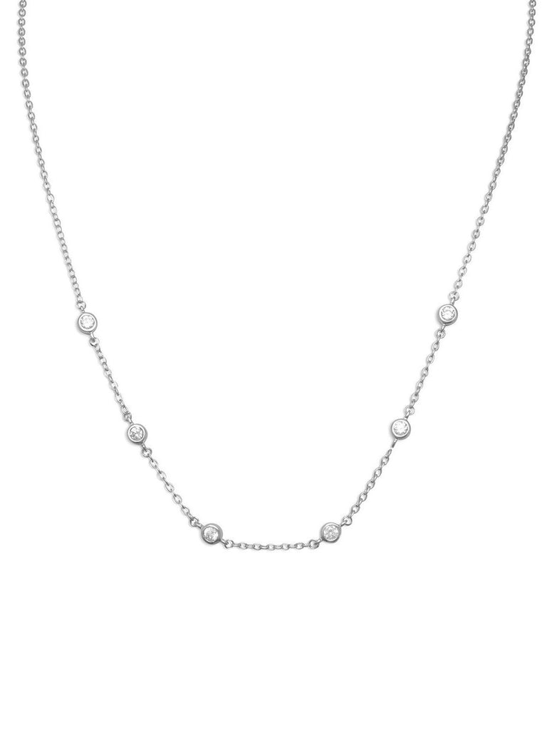 Bezel Set Cubic Zirconia with 6 Stones Necklace Rhodium over Sterling Silver