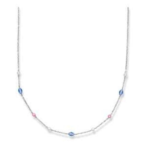 Crystal Station Necklace Pink Clear and Blue Crystals Rhodium on Sterling Silver