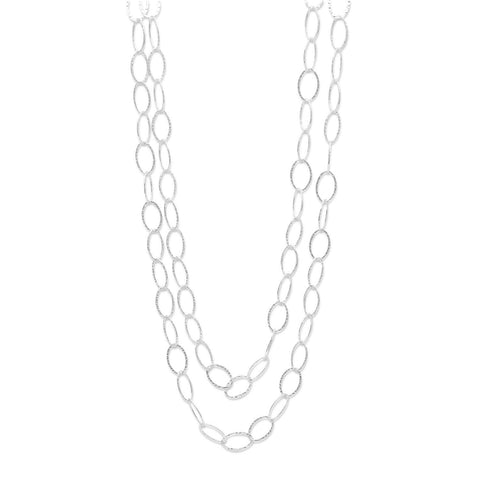 Extra Long Oval Link Necklace 60-inch Hammered Sterling Silver