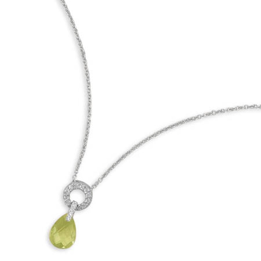 Green Cubic Zirconia Necklace with Pave Circle Sterling Silver