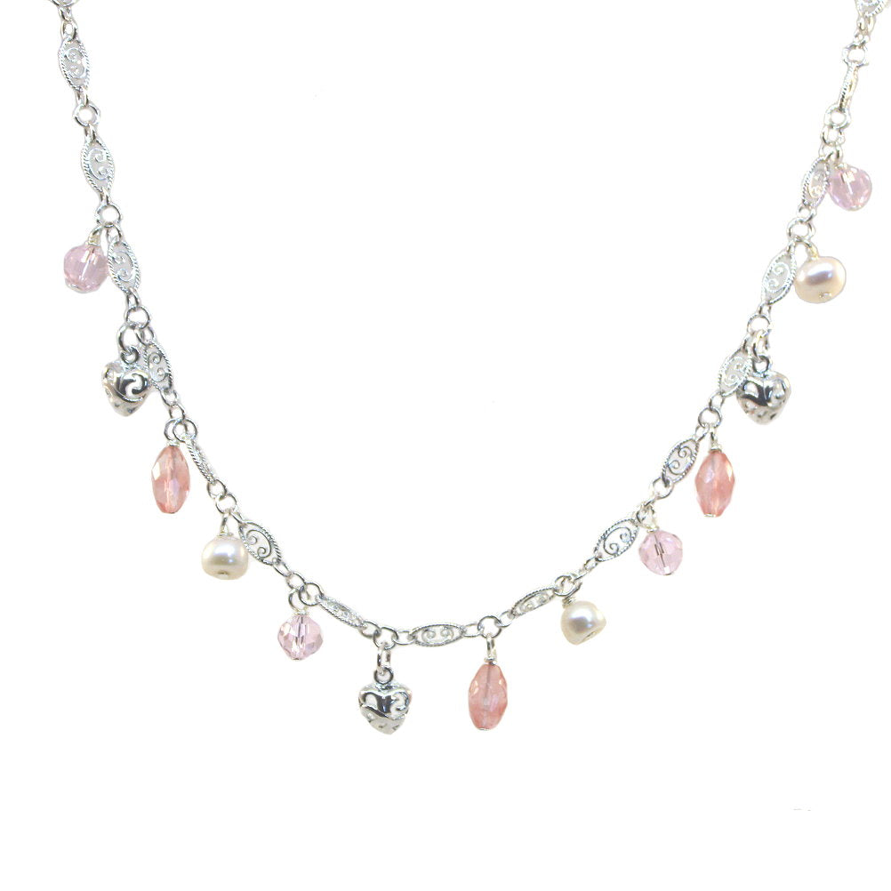 Charm Necklace with Pink Crystal, Cultured Pearls, Cherry Glass and Heart Drops