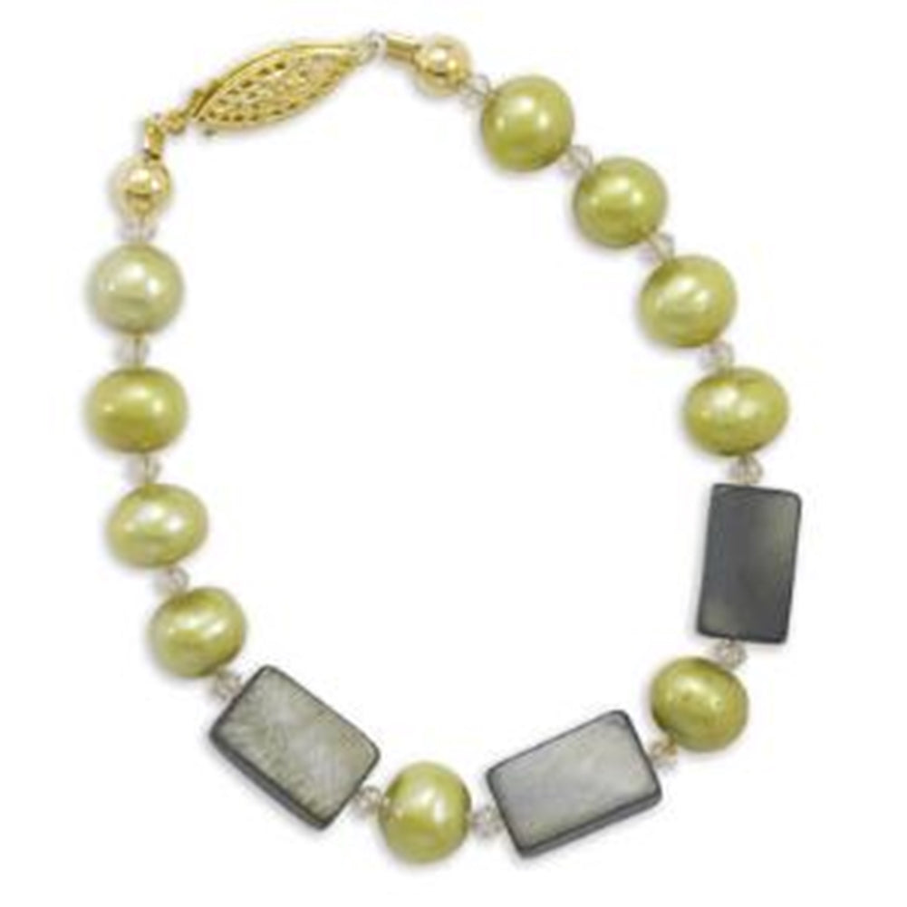14K Yellow Gold-filled Bracelet with Green Dyed Freshwater Cultured Pearls and Crystals