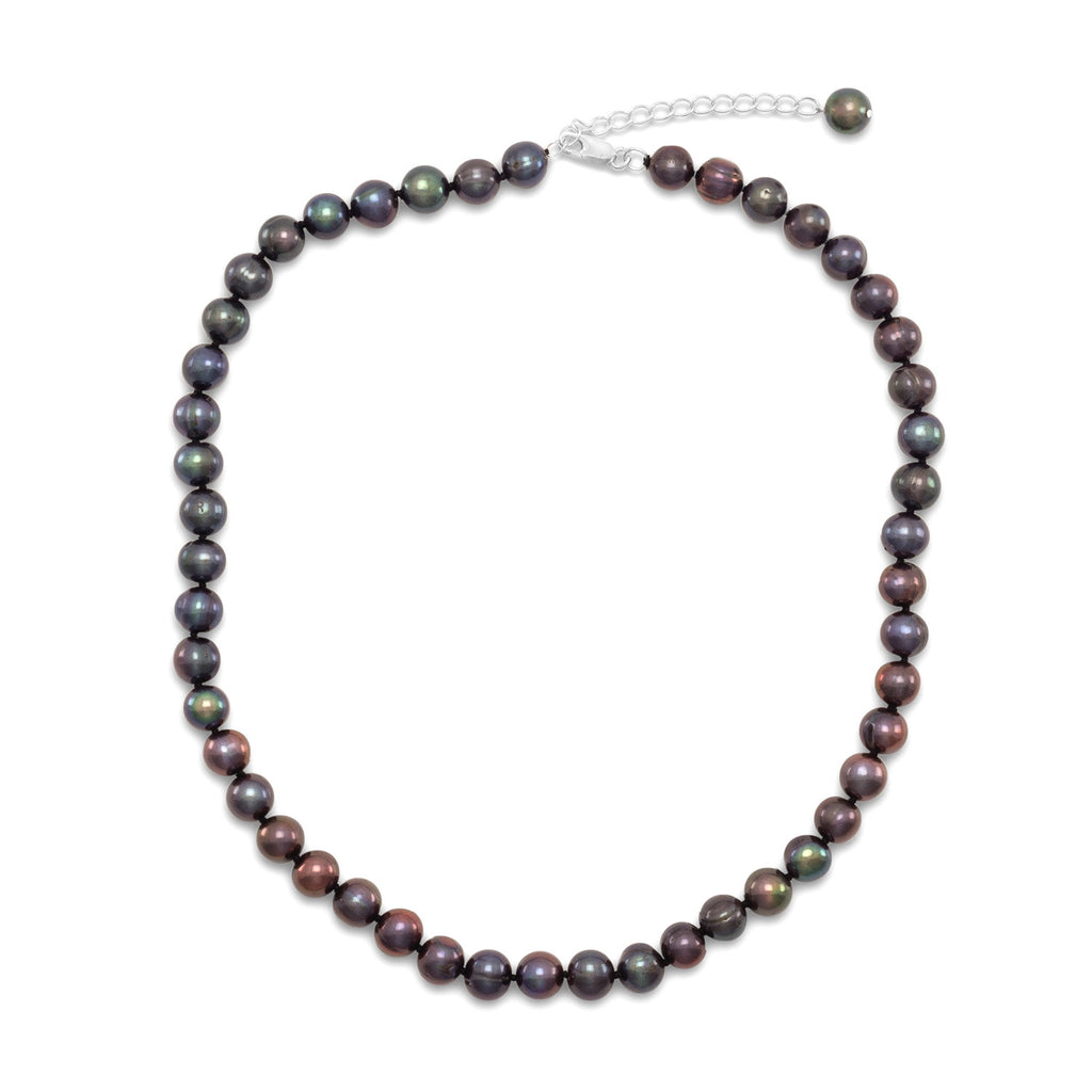 Dyed Peacock Cultured Freshwater Pearl 10.5mm Necklace Knotted Adjustable Length Sterling Silver