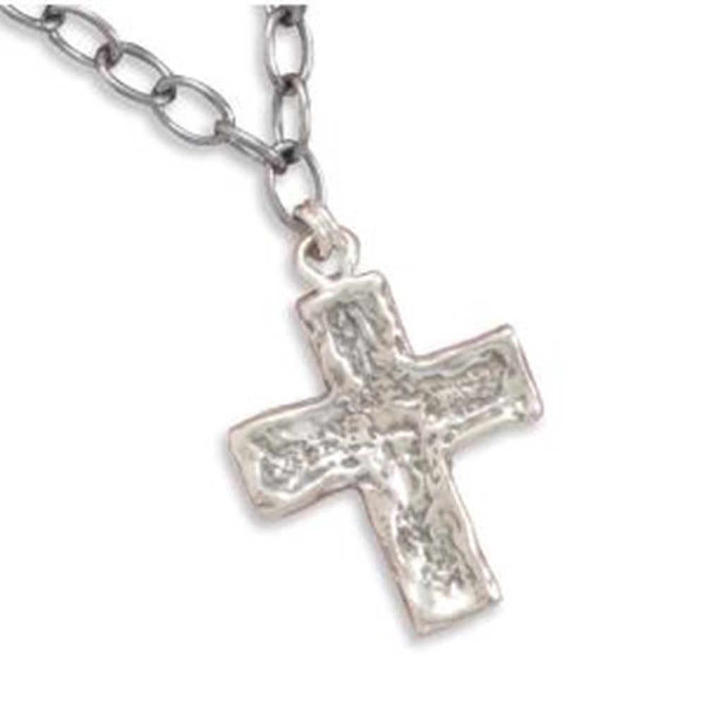 Cross Necklace Link Chain with Textured Cross Pendant - Chain Included