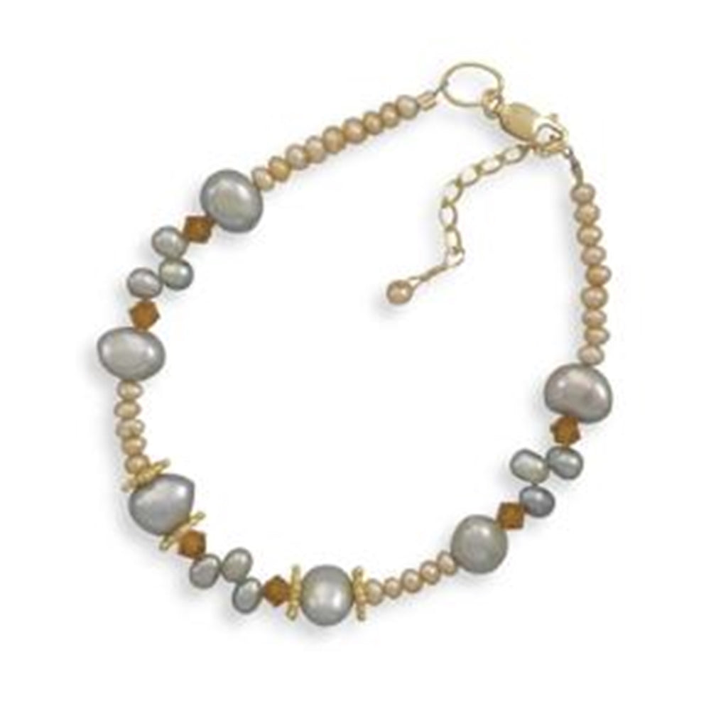 Gold-filled Dyed Cultured Freshwater Pearl and Crystal Bracelet Adjustable