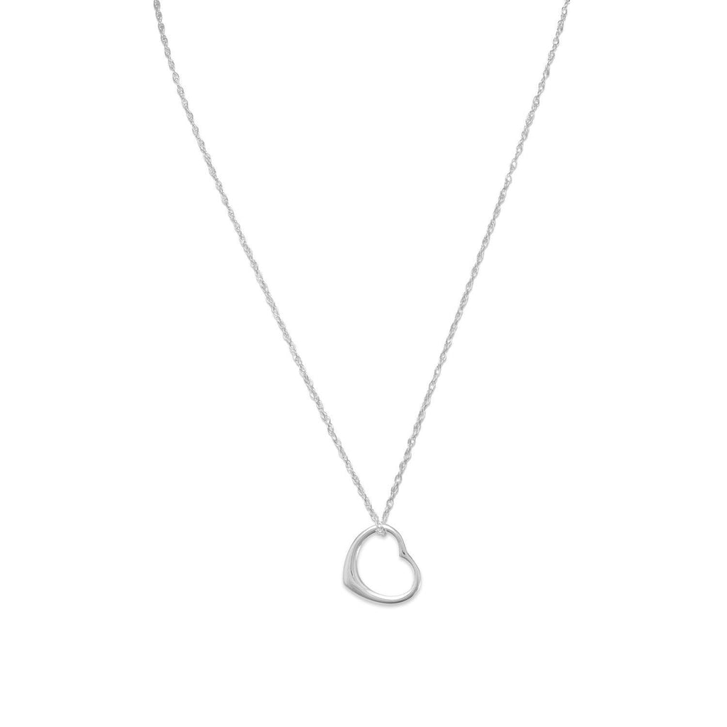 Floating Heart Necklace Sterling Silver - Rope Chain Included