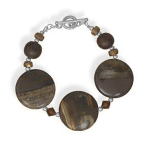 Zebra Jasper, Crystal, Wood, Sterling Silver Bead Bracelet - Made in the USA