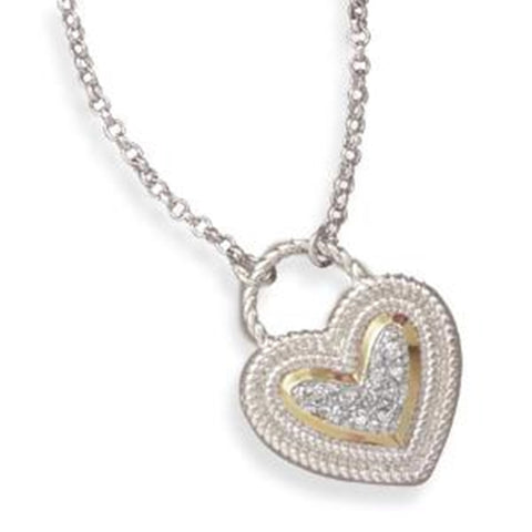 Gold-plated 2-Tone Heart Shape Lock Cubic Zirconia Sterling Silver Necklace