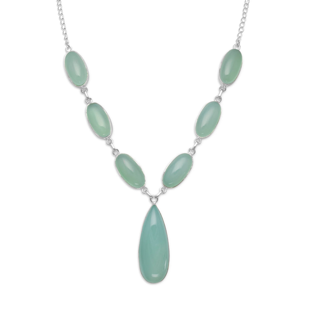 Sea Green Chalcedony Seven Stone Sterling Silver Necklace