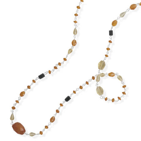 Orange Carnelian and Yellow Citrine Stone Necklace Sterling Silver 35-inch Length