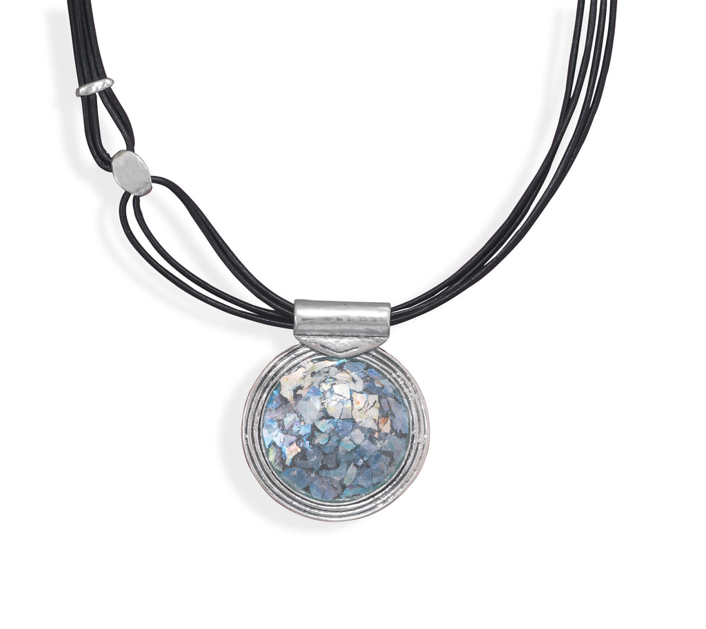 Ancient Roman Glass Necklace Sterling Silver Made in Israel