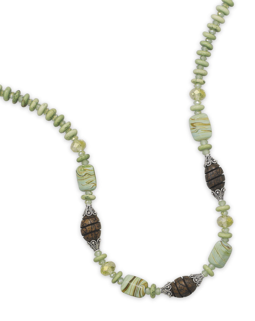 Green and Brown Swirled Lampwork and Wood Bead Necklace Sterling Silver Adjustable - Made in the USA