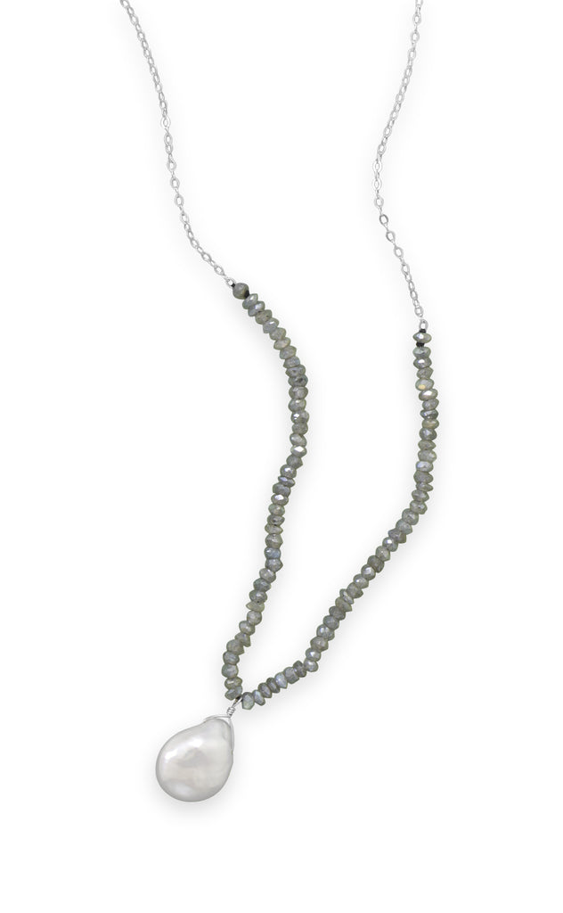 Labradorite and Baroque Cultured Freshwater Pearl Drop Necklace Sterling Silver Adjustable Length