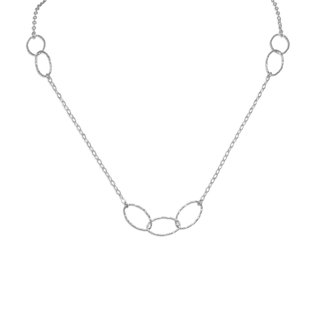 Oval Link and Chain Necklace Rhodium on Sterling Silver - Nontarnish