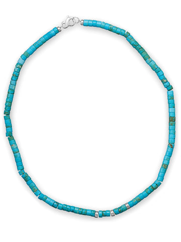 Teens Mens Reconstituted Turquoise Necklace Heshi Bead Sterling Silver 21-inch Length