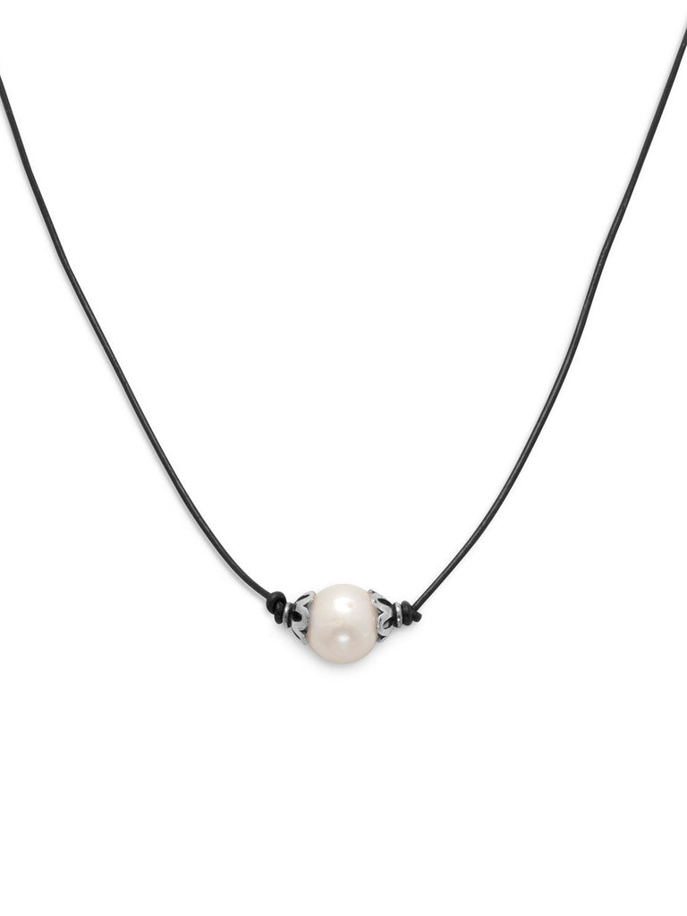 2be1cf3c6371b2 Single White Cultured Freshwater Pearl on Black Leather Cord Necklace –  AzureBella Jewelry