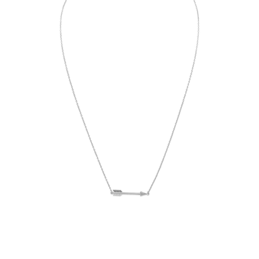 Arrow Necklace Adjustable Length Rhodium on Sterling Silver - Nontarnish