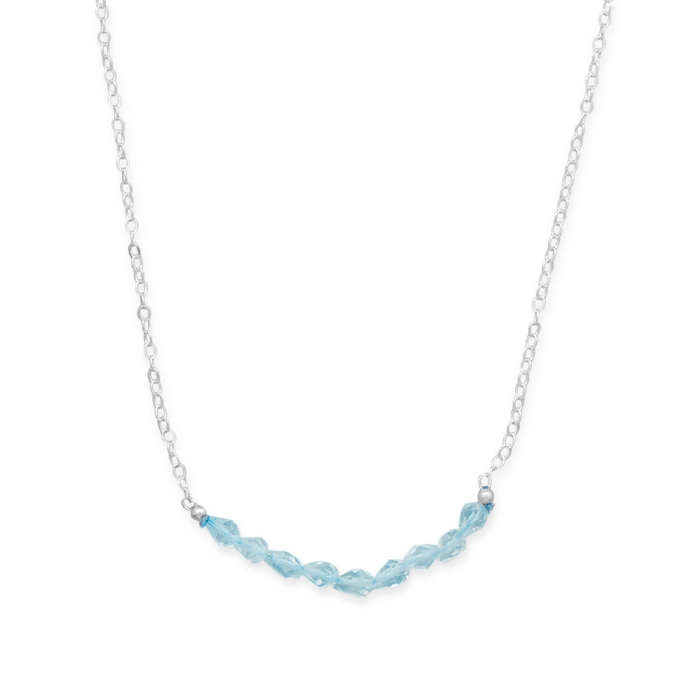 Sterling Silver with Blue Topaz Bead Bar Necklace - Adjustable Length
