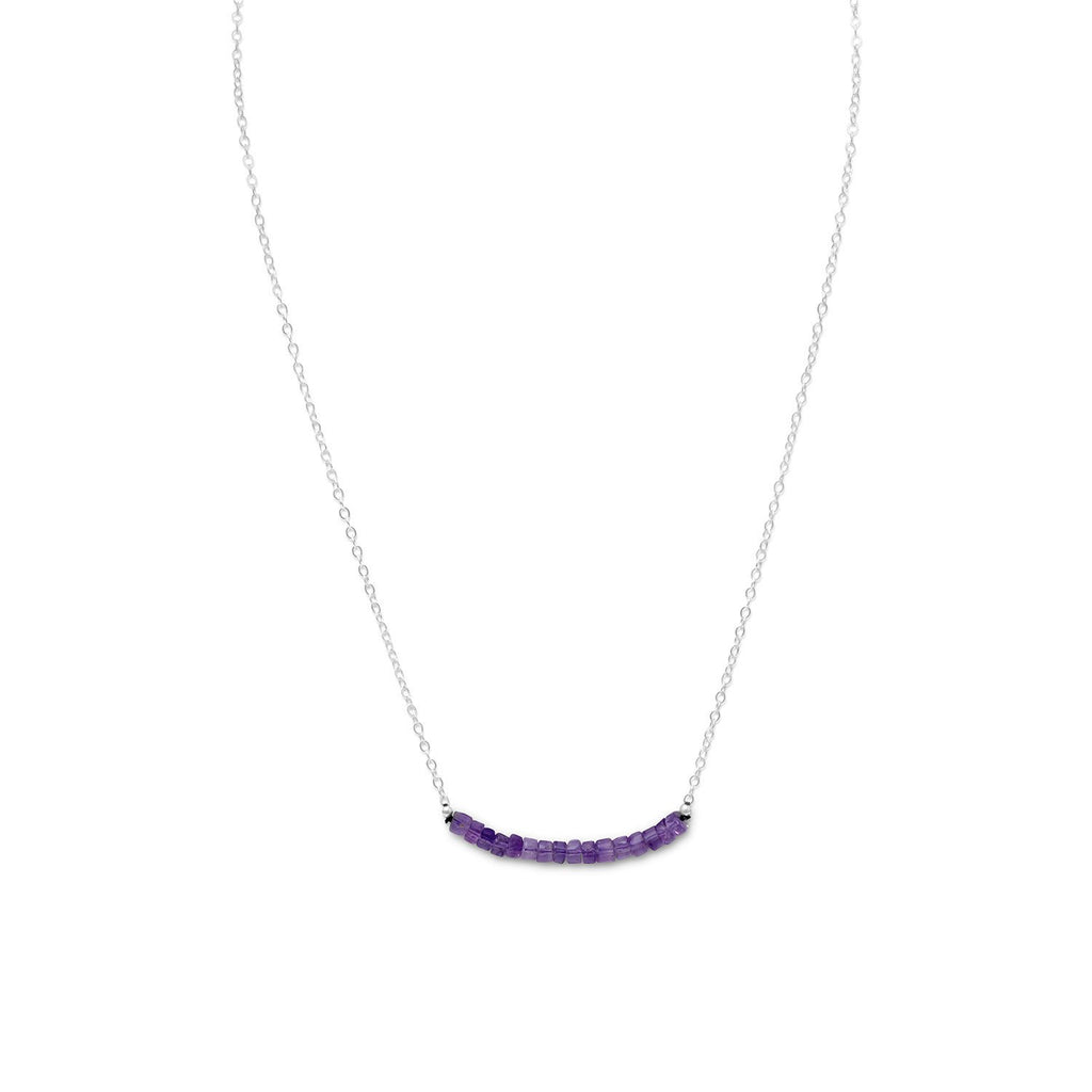 Amethyst Bead Bar Necklace Sterling Silver