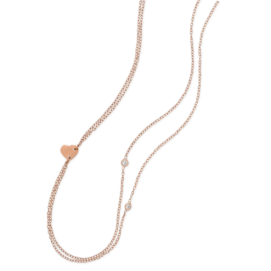 Double-strand Rose Gold-plated Heart Necklace with Cubic Zirconia Accents