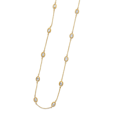 Station Style Necklace with Gold-plated Sterling Silver and Cubic Zirconia 36-inch Length
