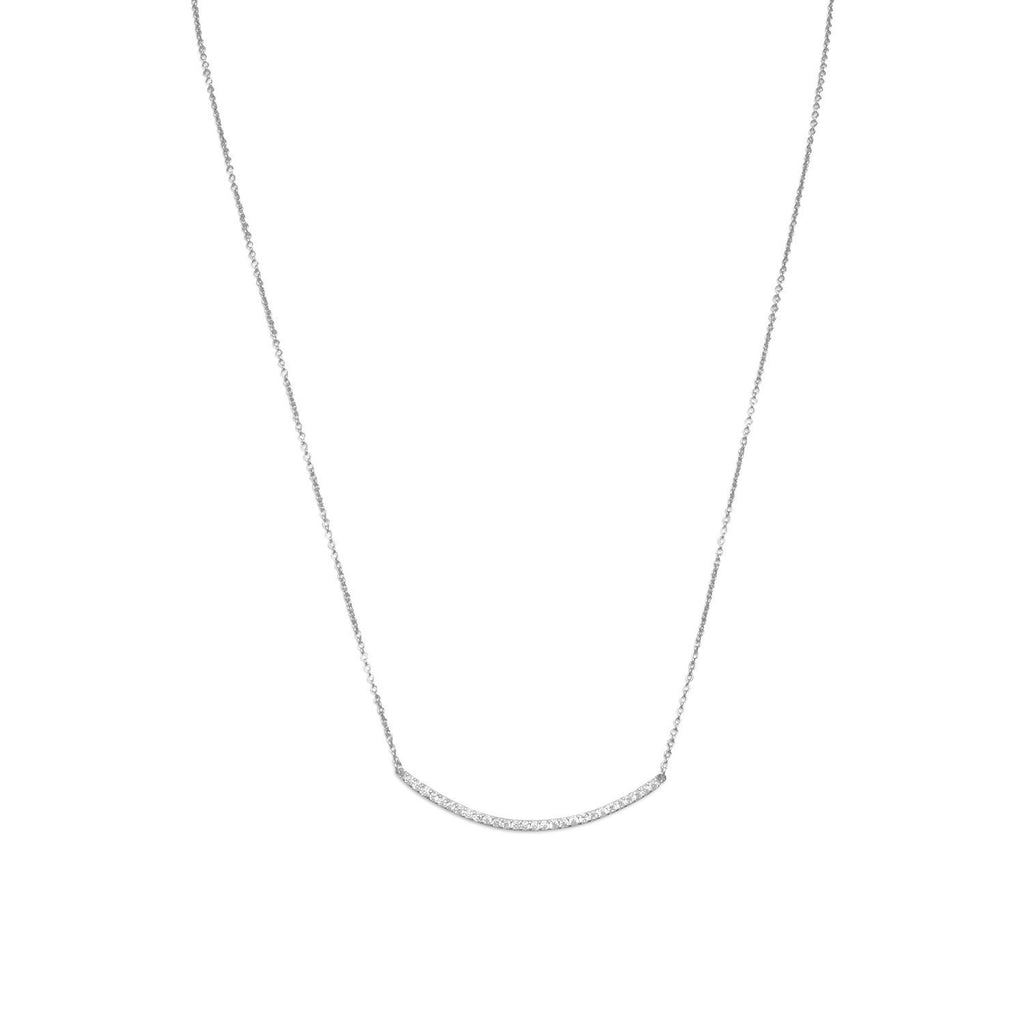 Curved Bar Necklace with Cubic Zirconia Adjustable Length Rhodium on Sterling Silver - Nontarnish