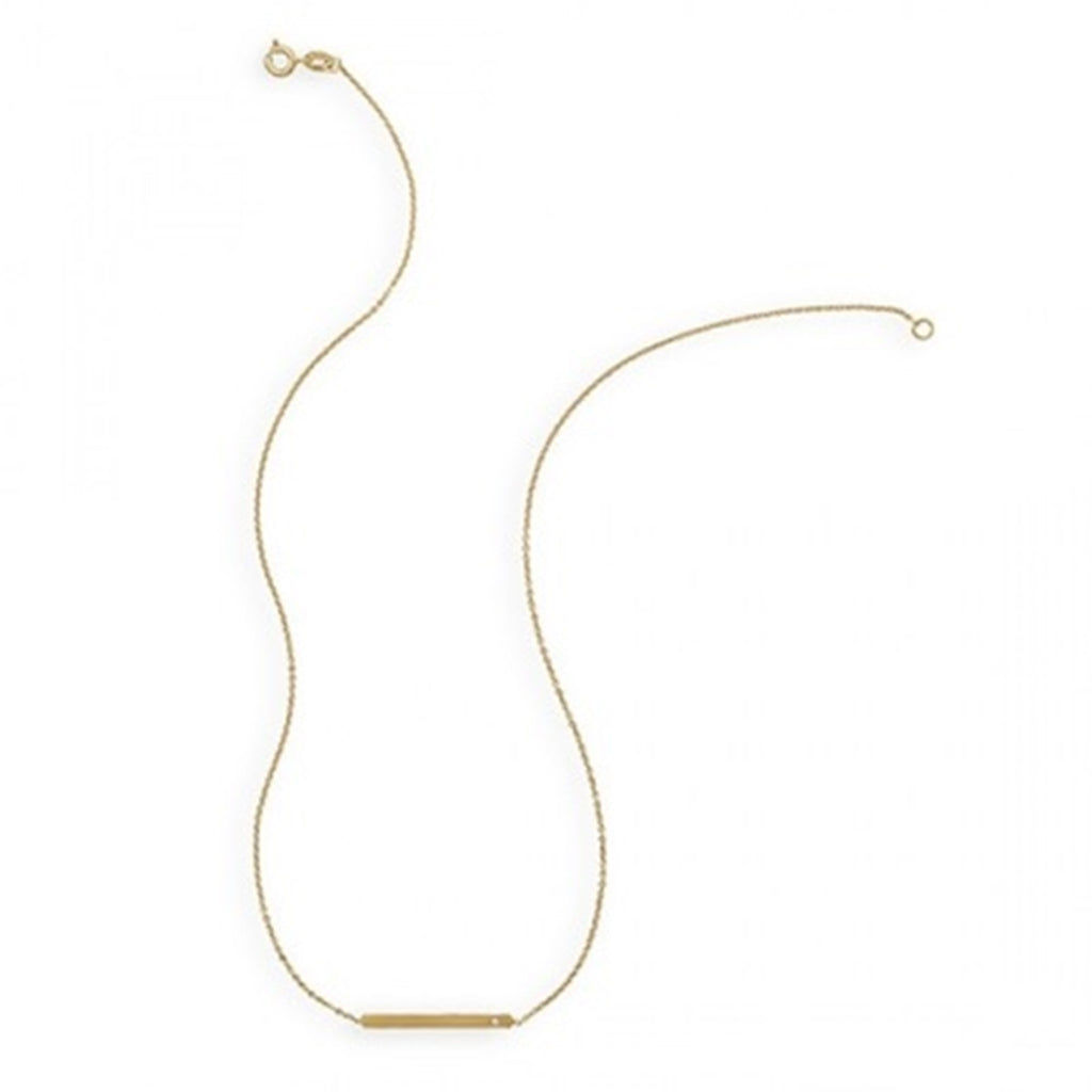 Bar Necklace Gold-plated on Sterling Silver with Cubic Zirconia Stones