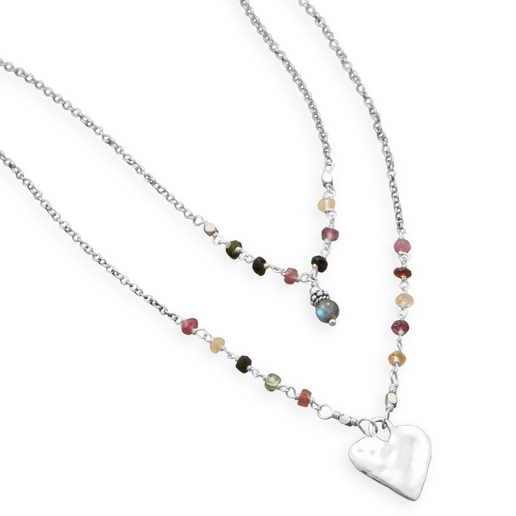 Tourmaline Double Strand Necklace with Labradorite and Heart Drop