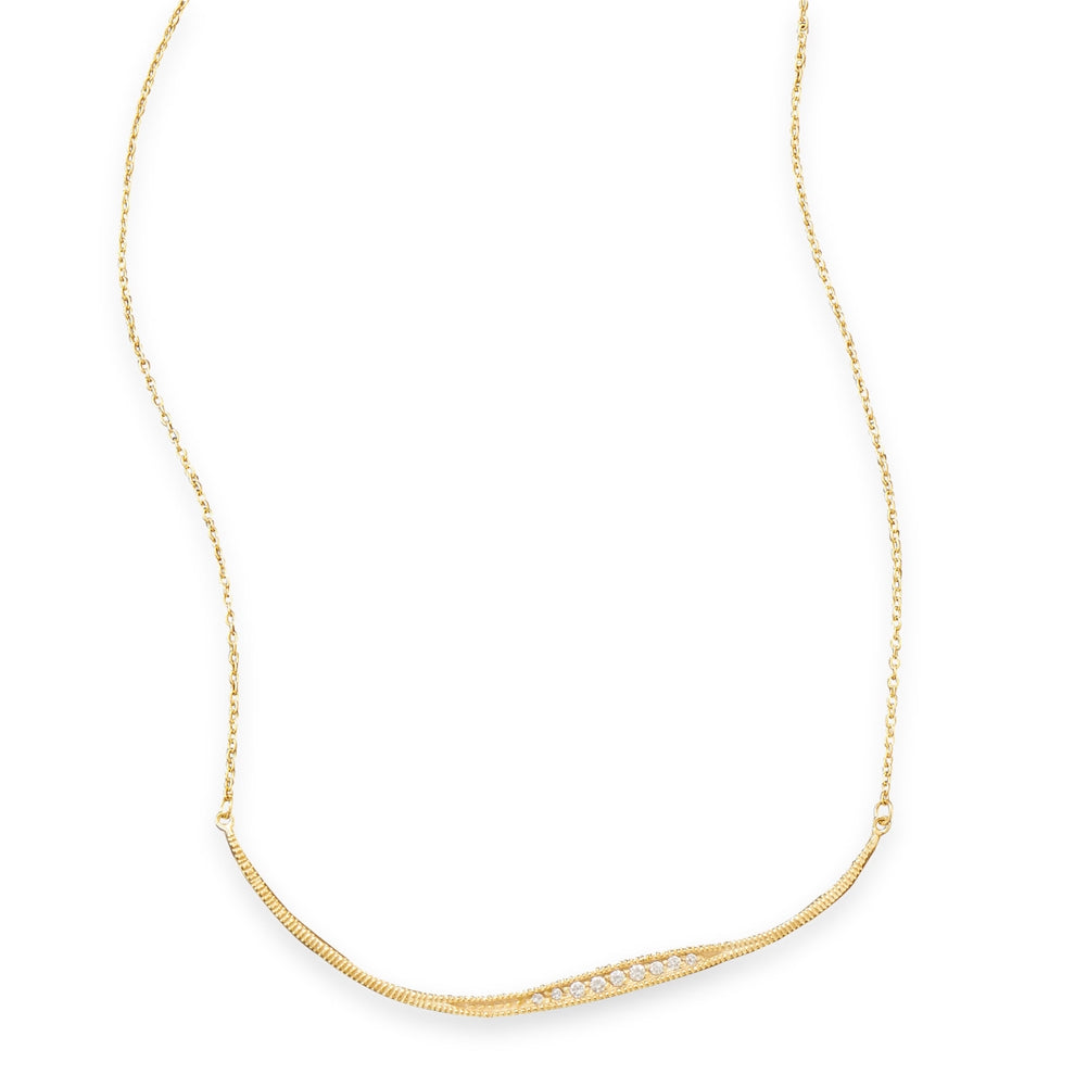 Curved Bar Necklace with Cubic Zirconia Gold-plated Sterling Silver