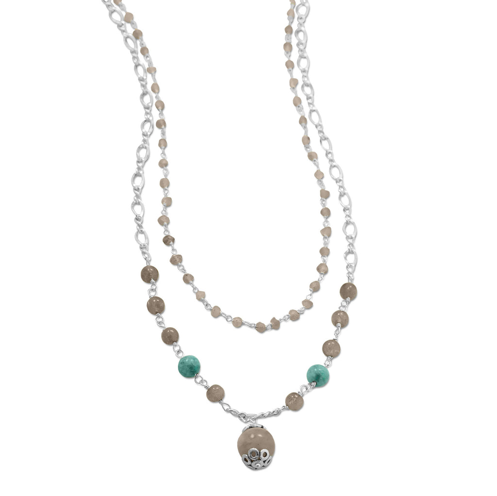 Labradorite and Amazonite Bead Double Layer Necklace