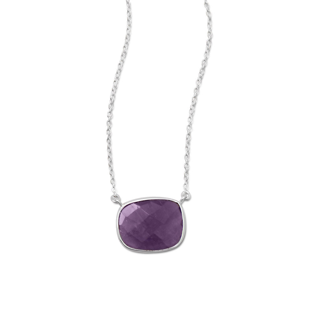 Amethyst Necklace Freeform Sterling Silver
