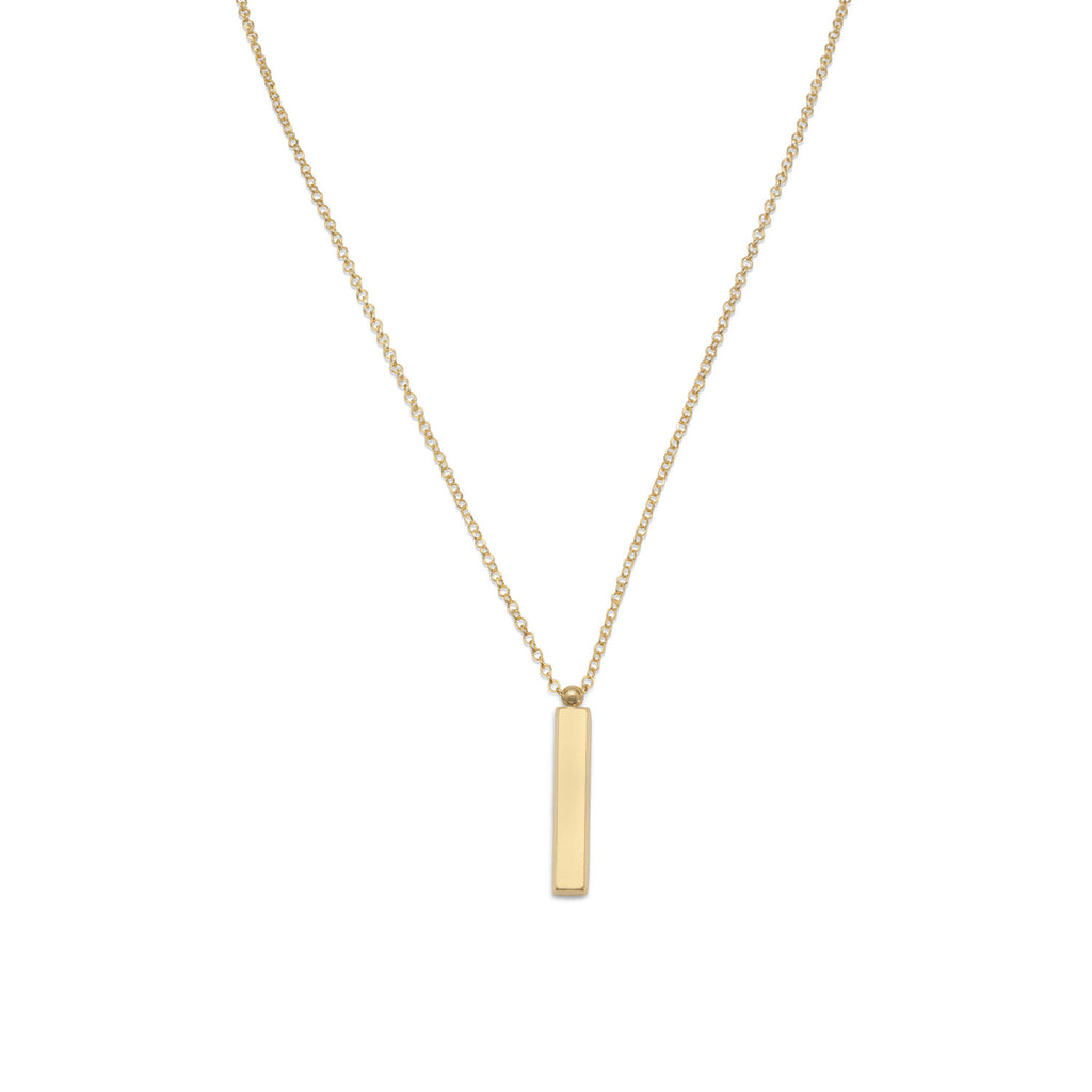 Bar Pendant Necklace Gold-plated Sterling Silver