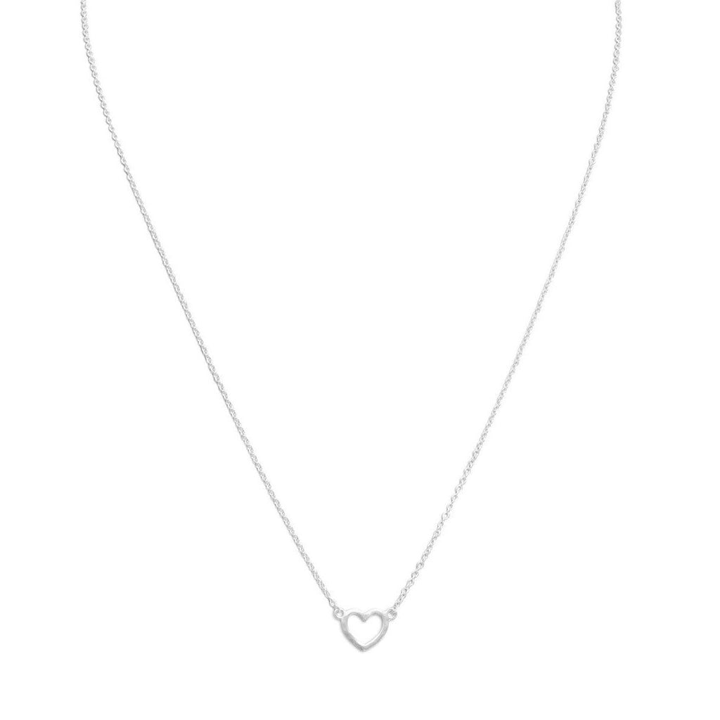 Heart Necklace Matte Finish Sterling Silver Adjustable