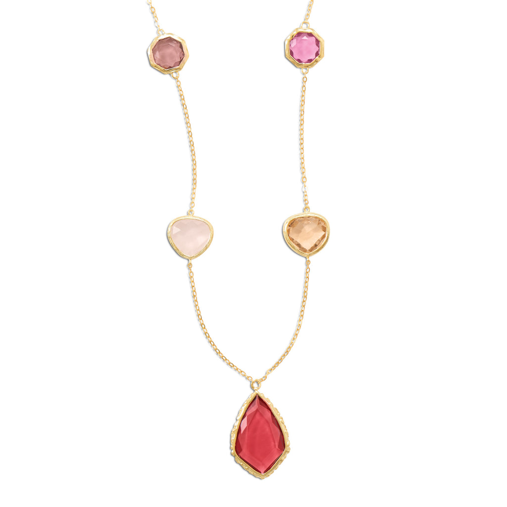 Shades of Red and Pink Glass Station Necklace Gold-plated Sterling Silver