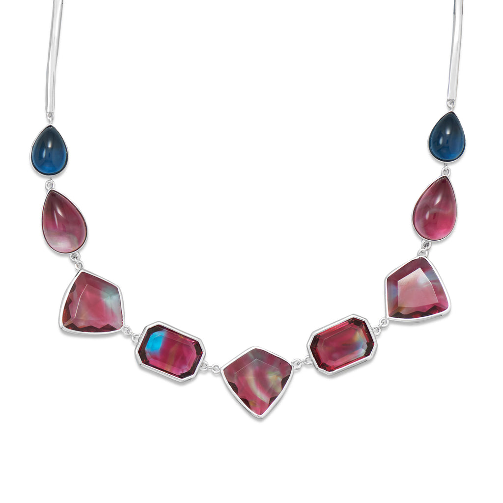 Red and Blue Glass Stone Necklace Rhodium on Sterling Silver - Nontarnish