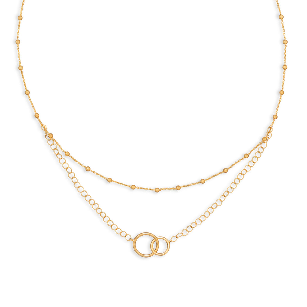 Double Layer Interlocking Rings Necklace Gold-plated Sterling Silver