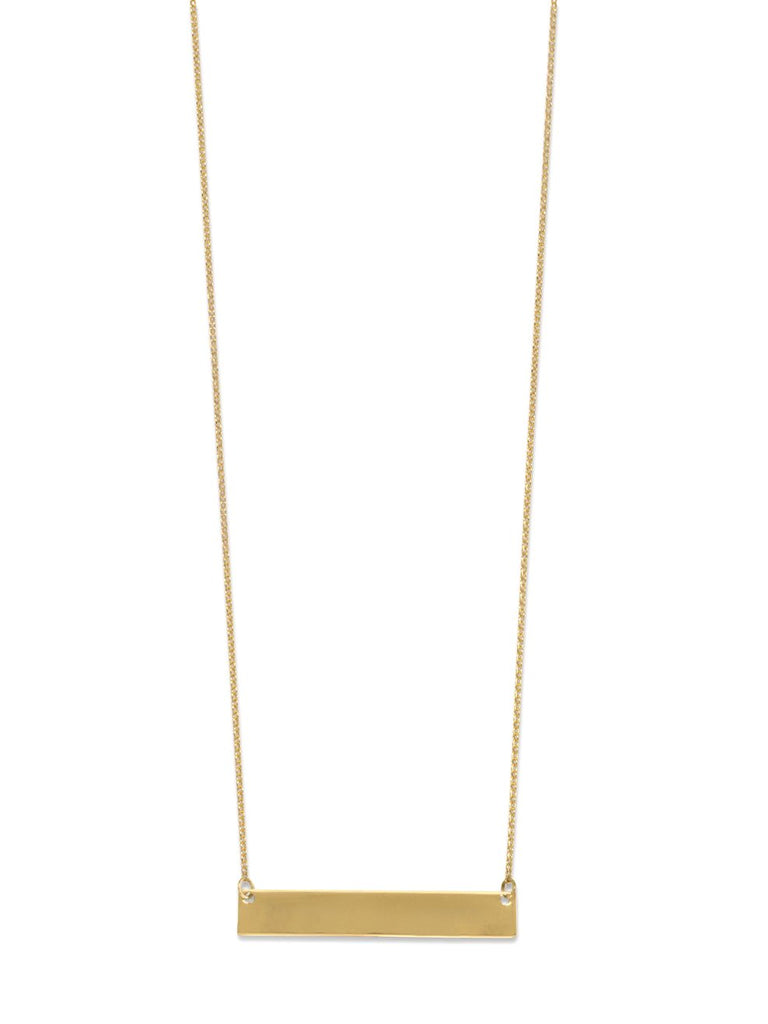 Gold-plated Sterling Silver Engravable Bar Necklace Adjustable