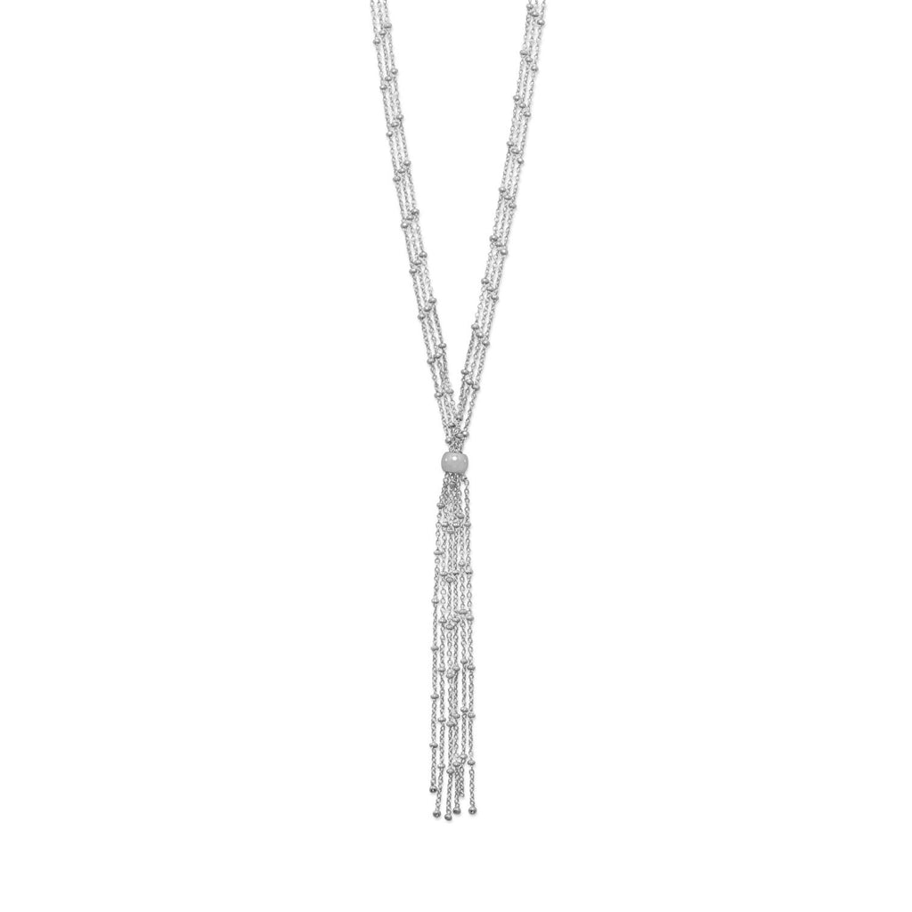 Bead Satellite Chain Bolo Y Necklace Rhodium on Sterling Silver - Nontarnish