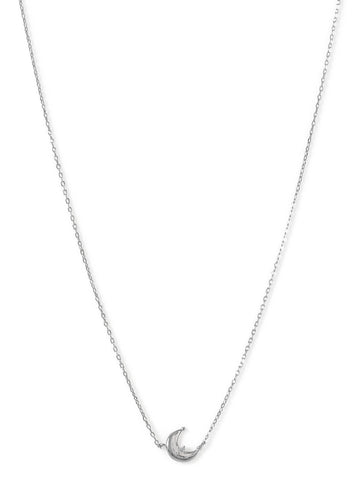Crescent Moon Necklace with Cubic Zirconia Rhodium-plated Sterling Silver
